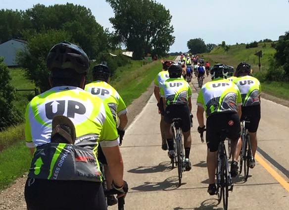 The Man Up and Go team makes their way along the rural roads of Iowa.